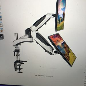 Dual monitor stand, height adjustable monitor mount fit 213 to 27 inch flat, curved computer screen, double gas spring for Sale in Bakersfield, CA