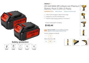 Dewalt Battery Power Tools 20v / 5.0 ah ( Pack of 2) for Sale in Huntington Park, CA