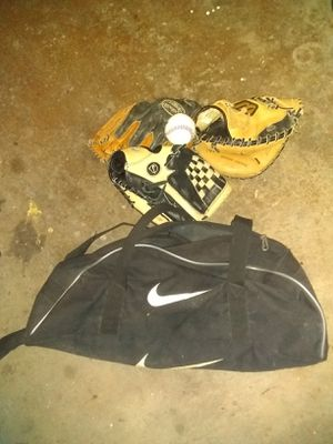 Nike baseball bag with gloves and ball for Sale in Cleveland, OH