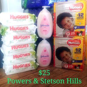 Huggies Wipes diapers lot j&J baby bundle for Sale in Colorado Springs, CO