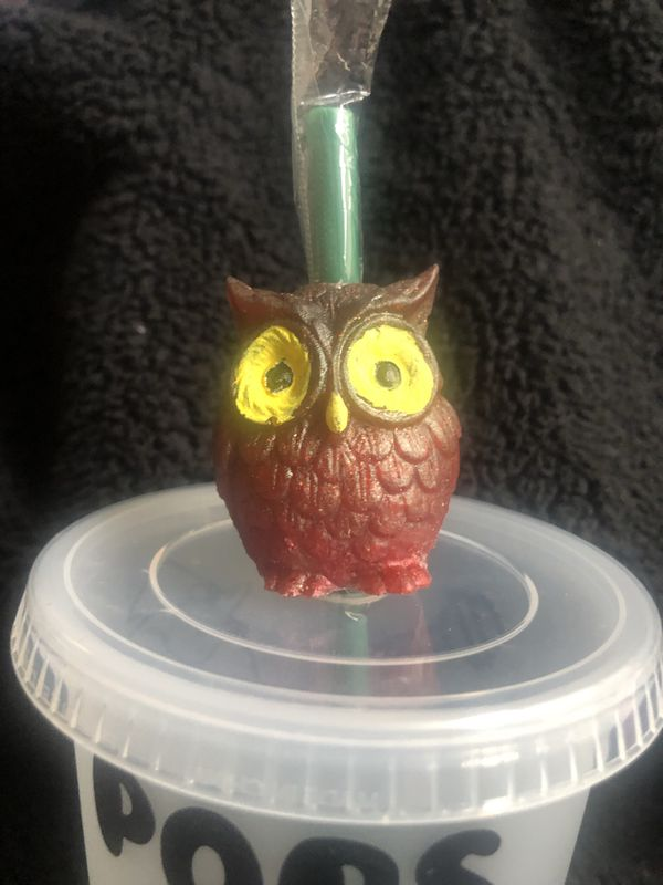 Starbucks Reusable Tootsie Roll Pop , Owl Tumbler With straw Topper