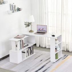 Modern L Shaped Rotating Computer Desk with Bookshelves - White for Sale in La Puente,  CA