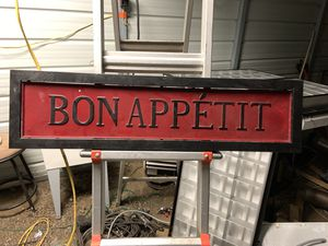 """Bon appetite"" vintage metal sign and matching clock for Sale in Alliance, OH"