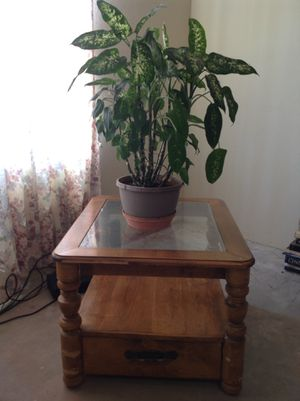 Heavy Wood Side Table with Glass Top and Bottom Drawers for Sale in Tucson, AZ