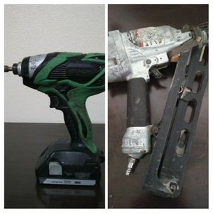 Hitachi impact drill+Hitachi angled finish nailer...Both work great and selling for the low...$50 for Sale in Austin, TX