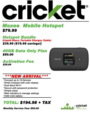 Moxee Mobile Hotspot $79.99 for Sale in Wichita Falls, TX