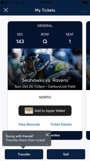 Seahawks vs Ravens 10/23 for Sale in Seattle, WA