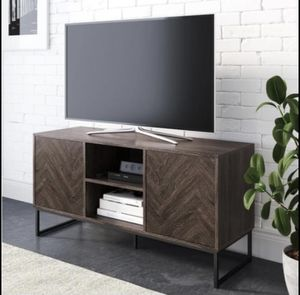 NEW Gray and Black Wood TV Stand Fits TVs Up to 55 in. with Storage Doors for Sale in Reedley, CA