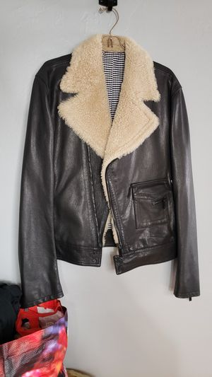 Mens Givenchy leather and lambs wool motorcycle bomber jacket for Sale in Los Angeles, CA