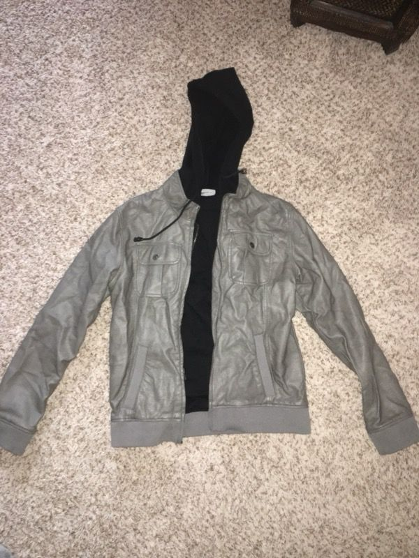 Leather jacket with sewed in hoodie