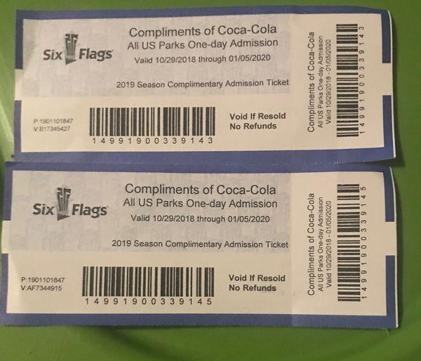 2 Adult Six Flags Amusement Park Tickets