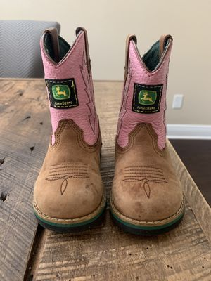 Pink John Deere size 6m toddler boots for Sale in Tampa, FL