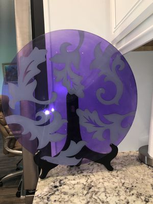Purple glass plate decoration for Sale in Port St. Lucie, FL