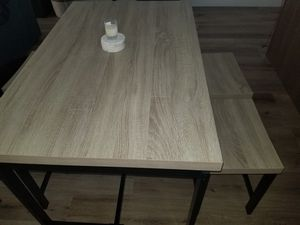 Rubberwood and black metal dining table for Sale in Salt Lake City, UT