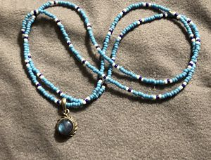 Boho necklace of turquoise, white, and coral colored beads with blue moonstone pendant oos for Sale in Akron, OH