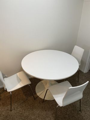 IKEA white dining table with 3 chairs for Sale in Beverly Hills, CA