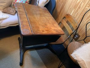 Antique school desk with attached chair for Sale in Columbus, OH