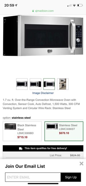 Brand New LG Over-the-Range Convection 1.7 cu ft for Sale in Alexandria, VA