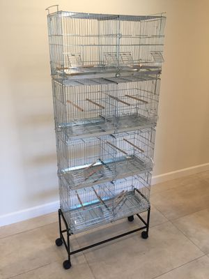 Set of 4 Galvanized Bird Cages with Divider Stand on Wheels BRAND NEW for Sale in Los Angeles, CA