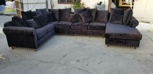 NEW 8X13X5FT BABY FACE BLACK FABRIC SECTIONAL COUCHES for Sale in Bakersfield, CA
