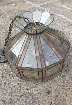Glass and brass hanging chandelier six lights floral octagon for Sale in Dearborn, MI