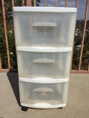 Plastic storage, 3 Drawer Cart with wheels - White for Sale in Pasadena, CA