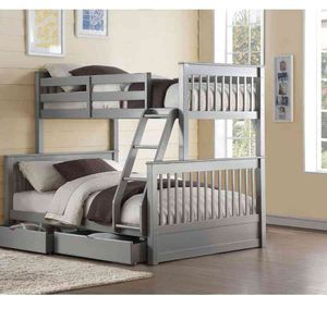 Twin/Full Bunk Bed w/2 Drawers - 37755 - Gray 1QBE for Sale in Ontario, CA
