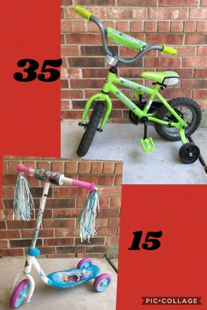 12 INCH Boys bike with training wheels and scooter👇👇read description for Sale in San Antonio, TX