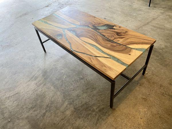 Teal Resin Coffee Table