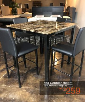 5pc Marble Counter Height Dining Table Set Free Delivery for Sale in Irving, TX
