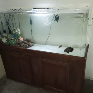 125 Gallon Acrylic Fish Tank/Aquarium with Wooden Stand for Sale in Phoenix, AZ