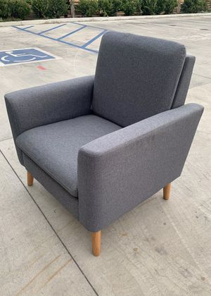 NEW 29x30x33 Inch Tall Modern Tufted Grey Accent Linen Fabric Upholstered Arm Sofa Single Chair Contemporary Furniture for Sale in Los Angeles, CA
