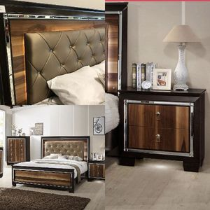 FREE DELIVERY 🚚 Kelda LED Panel Bedroom Set with FREE CHEST QUEEN BED, DRESSER, NIGHTSTAND, CHEST, MİROR for Sale in Houston, TX
