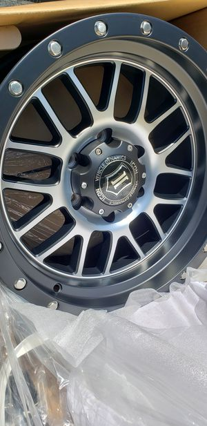 4 New in box Icon Alpha Wheels/Rims 17 inch 17x8.5 Satin Black Machined 6 lug 6x5.5 6x139.7 Chevy Toyota for Sale in Moreno Valley, CA