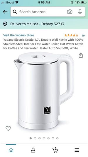 Yabano Electric Kettle 1.7L Double Wall Kettle with 100% Stainless Steel Interior Fast Water Boiler, Hot Water Kettle for Coffee and Tea Water Heater for Sale in DeBary, FL