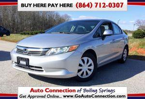 2012 Honda Civic LX Sedan 5-Speed AT for Sale in Boiling Springs, SC