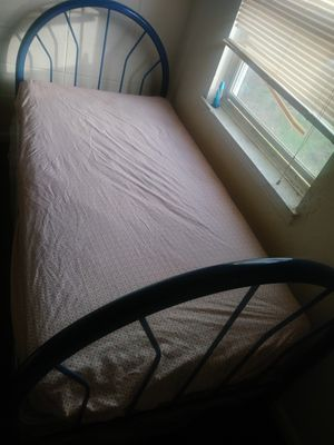 Blue twin size metal bed frame for Sale in Greenville, SC