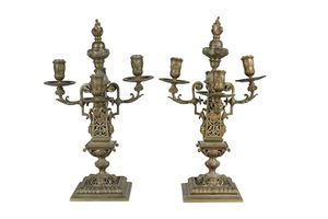 Pair of French Renaissance Revival Brass Candelabra for Sale in Whittier, CA