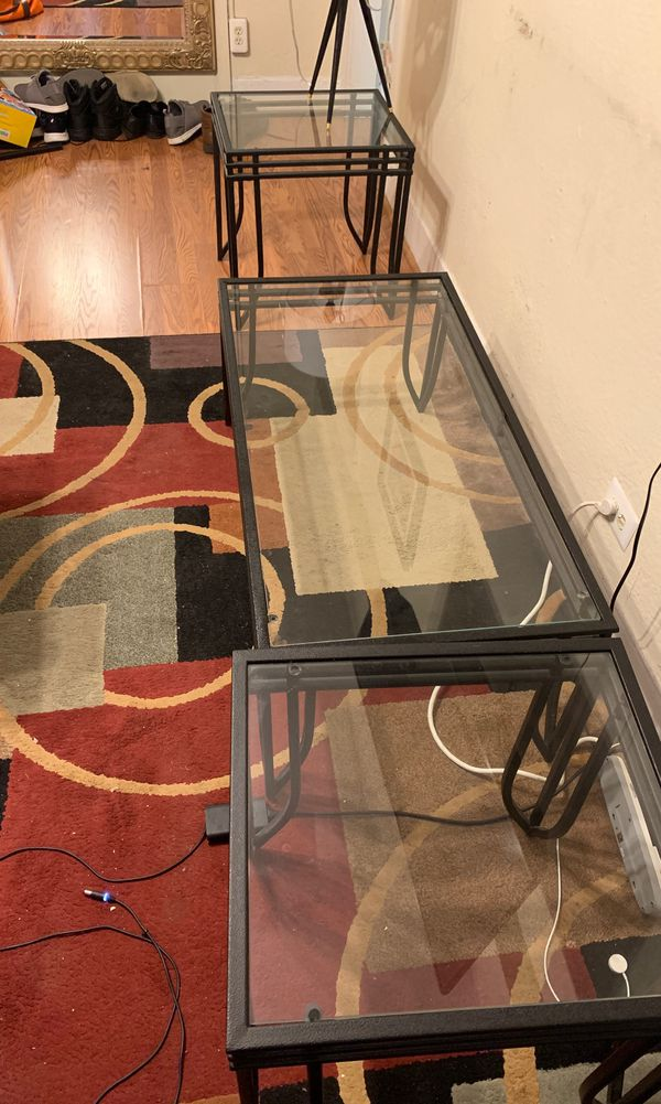 Exeter 3-in-1 Glass Coffee Table Set