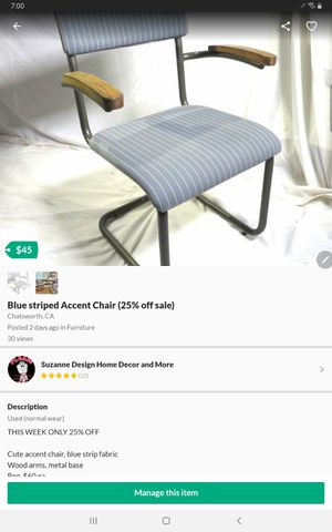 Blue striped Accent Chair (5️⃣0️⃣% Off )‼️ for Sale in Chatsworth, CA