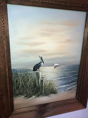 Seascape beach wildlife pelicans ocean lake painting by W. Dawson for Sale in Green Lake, WI