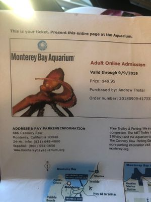 Two aquarium tickets.... for Sale in Los Angeles, CA