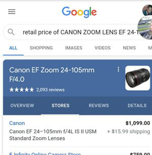 CANON,Ultrasonic image stabilizing camera lens for Sale in Waterbury, CT