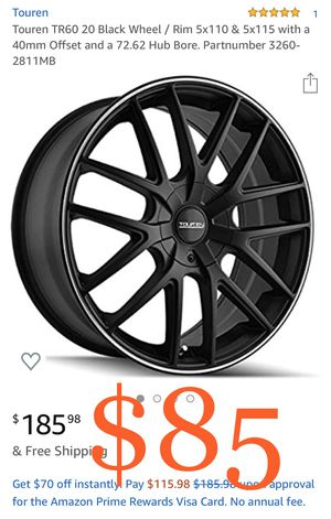 Touren TR60 20 Black Wheel / Rim 5x110 & 5x115 with a 40mm Offset and a 72.62 Hub Bore. Partnumber 3260-2811MB for Sale in Fontana, CA