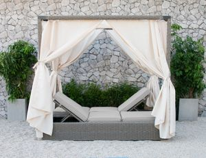 A Canopy Sunbed Is What You Need!!! Patio Decor - Renava Marin Outdoor Beige Color - Furniture for Sale in Marina del Rey, CA