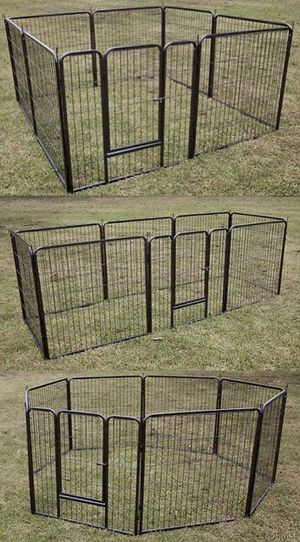 New in box 32 inch tall x 32 inches wide each panel x 8 panels heavy duty exercise playpen fence safety gate dog cage crate kennel expandable fence g for Sale in West Covina, CA