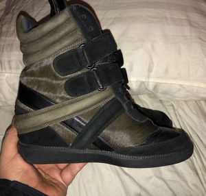 MONIKA CHIANG WEDGE SNEAKERS BLACK GREEN SUEDE WITH BROWN CALF HAIR SIZE 38 for Sale in Bronx, NY