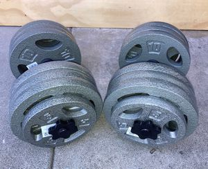 Weights (Over 140lbs) 12x10lb and 4x5lb plates with all steel dumbbell handles for Sale in Covina, CA