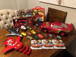 Disney Pixar Cars Lighting McQueen new and use toys awesome collection scale 1:45 good condition big car make sounds for Sale in Chula Vista, CA