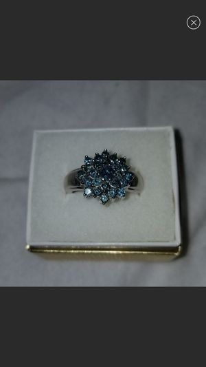 10kt white gold blue diamond ring size 6 for Sale in Aurora, CO